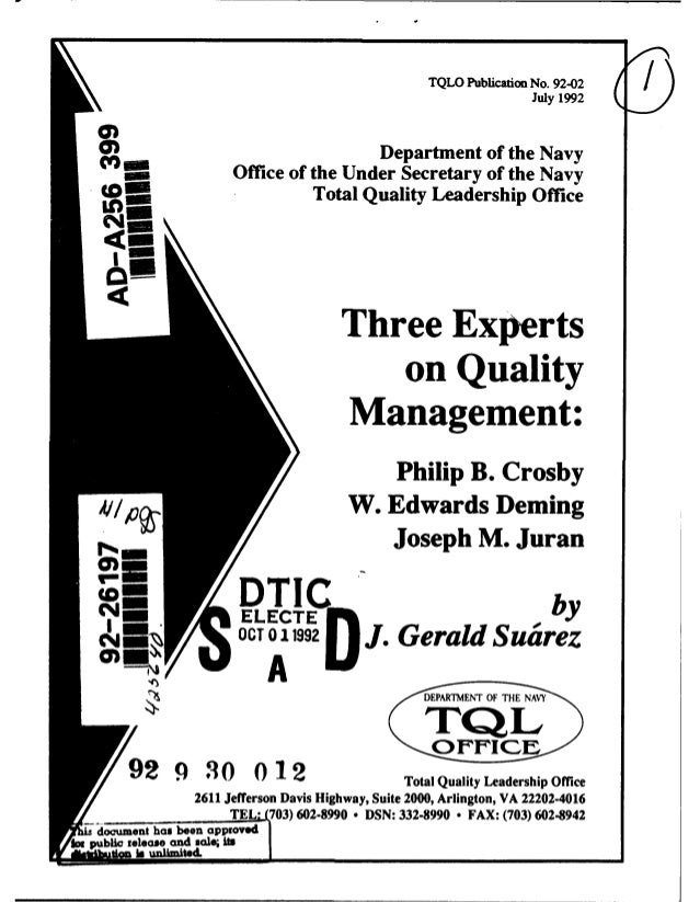 Three experts on Total Quality Management