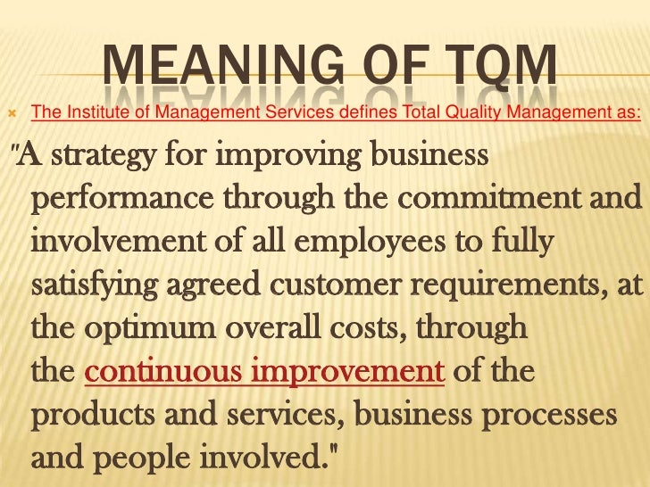 tqm house of quality pdf