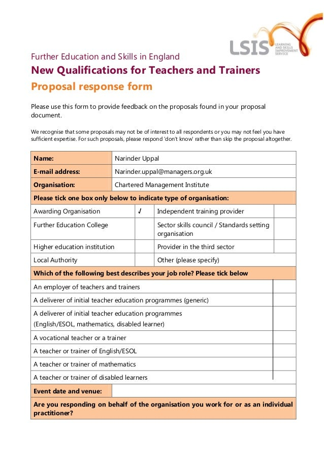 Further Education and Skills in EnglandNew Qualifications for Teachers and TrainersProposal response formPlease use this f...
