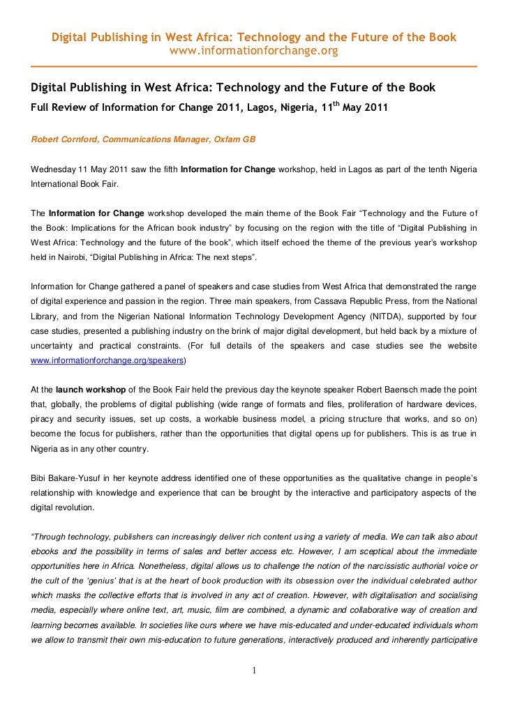 Digital Publishing in West Africa: Technology and the Future of the Book                            www.informationforchan...