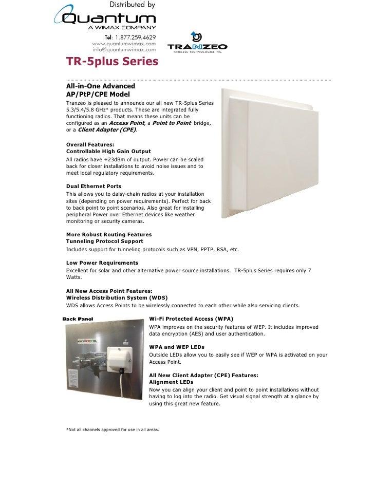 Tranzeo TR – 5plus Series (quantumwimax.com)