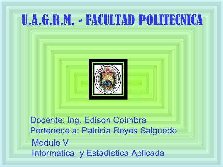 U.A.G.R.M. - FACULTAD POLITECNICA Docente: Ing. Edison Coímbra Pertenece a: Patricia Reyes Salguedo Modulo V Informática  ...