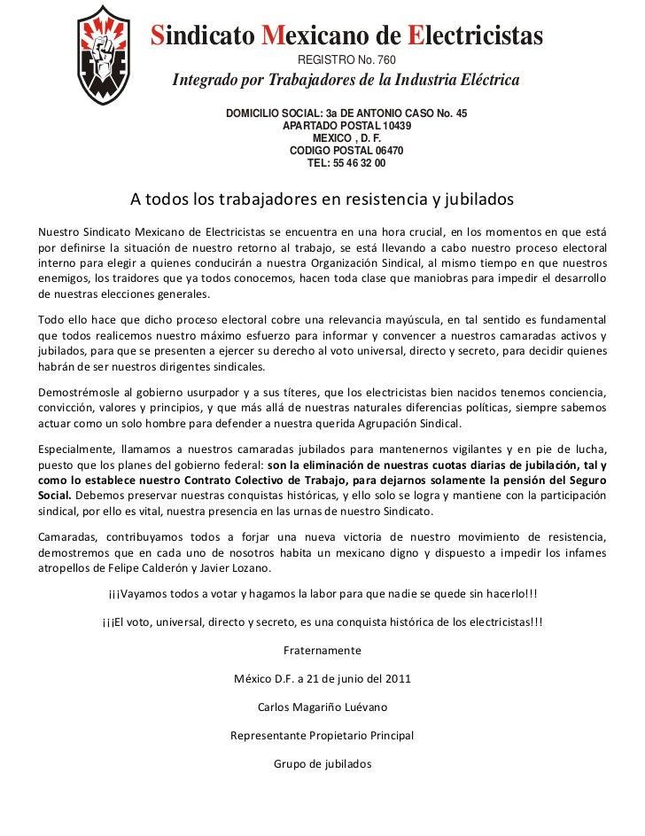 Sindicato Mexicano de Electricistas                                                    REGISTRO No. 760                   ...