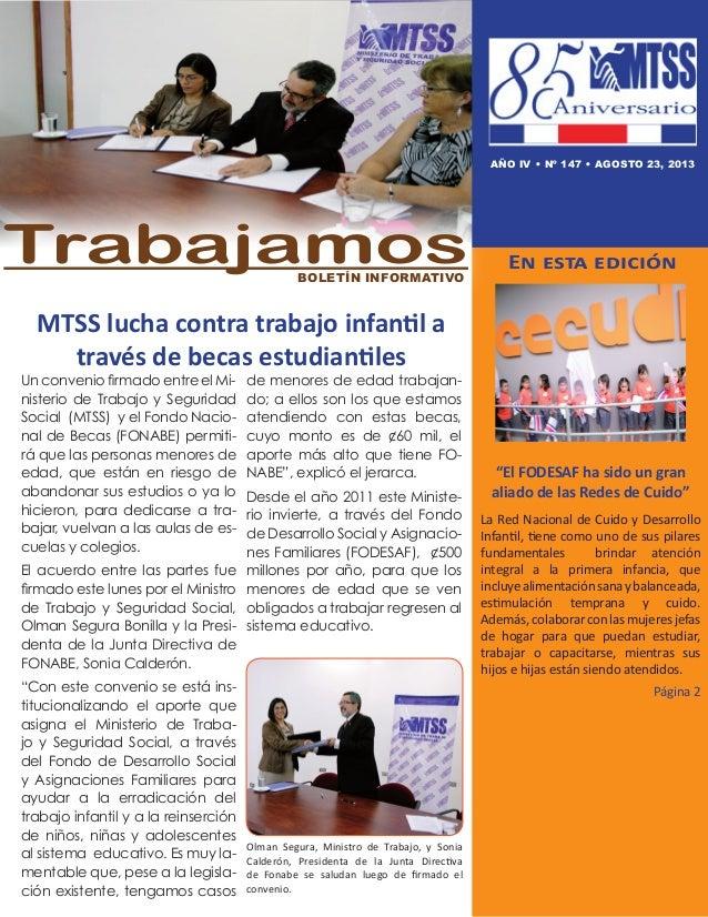 """MTSS lucha contra trabajo infantil a través de becas estudiantiles En esta edición """"El FODESAF ha sido un gran aliado de l..."""