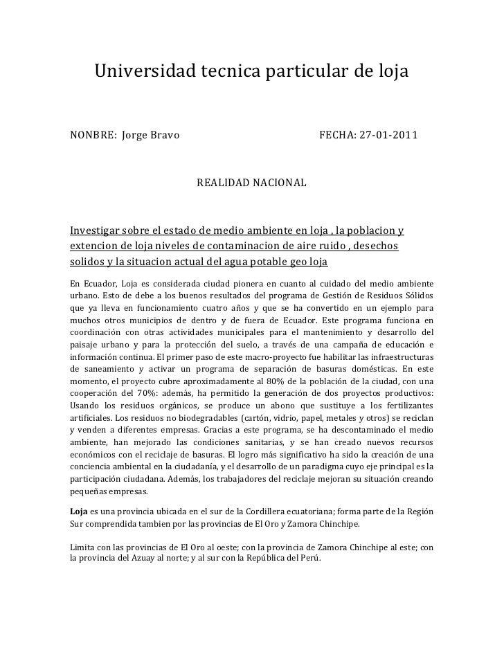 Universidad tecnica particular de loja<br />NONBRE:  Jorge Bravo                                                       FEC...