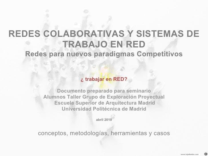 REDES COLABORATIVAS Y SISTEMAS DE          TRABAJO EN RED   Redes para nuevos paradigmas Competitivos                     ...