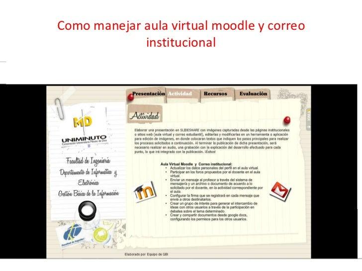 Como manejar aula virtual moodle y correo             institucional