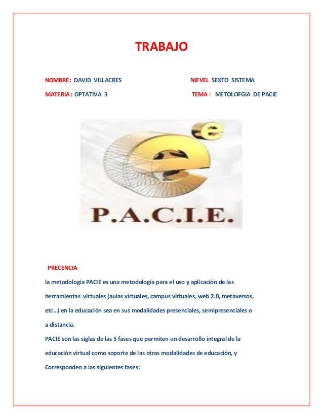 TRABAJONOMBRE: DAVID VILLACRES NIEVEL SEXTO SISTEMAMATERIA : OPTATIVA 3 TEMA : METOLOFGIA DE PACIEPRECENCIAla metodología ...