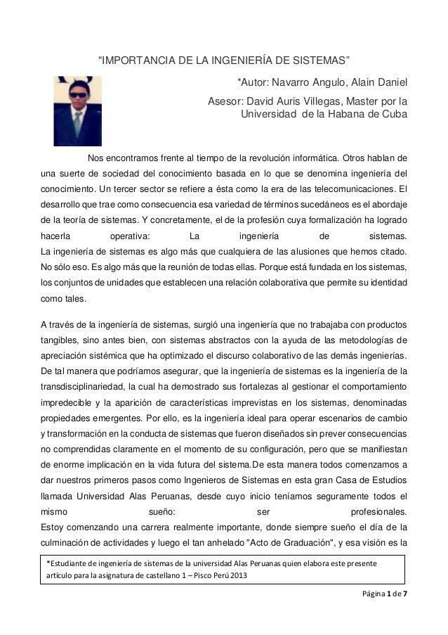 Página 1 de 7 *Estudiante de ingeniería de sistemas de la universidad Alas Peruanas quien elabora este presente artículo p...