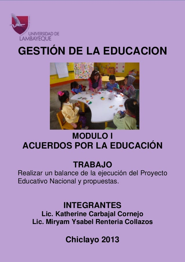 BALANCE DEL PROYECTO EDUCATIVO NACIONAL Y PROPUESTAS