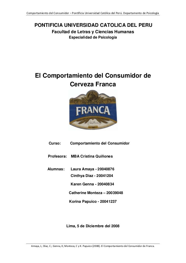Psicología del Consumo: el Caso Cerveza Franca