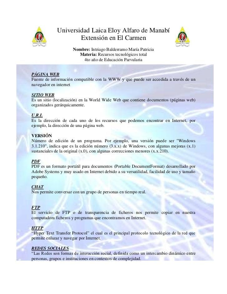 49143808890120655299Universidad Laica Eloy Alfaro de Manabí<br />Extensión en El Carmen<br />Nombre: Intriago Balderramo M...