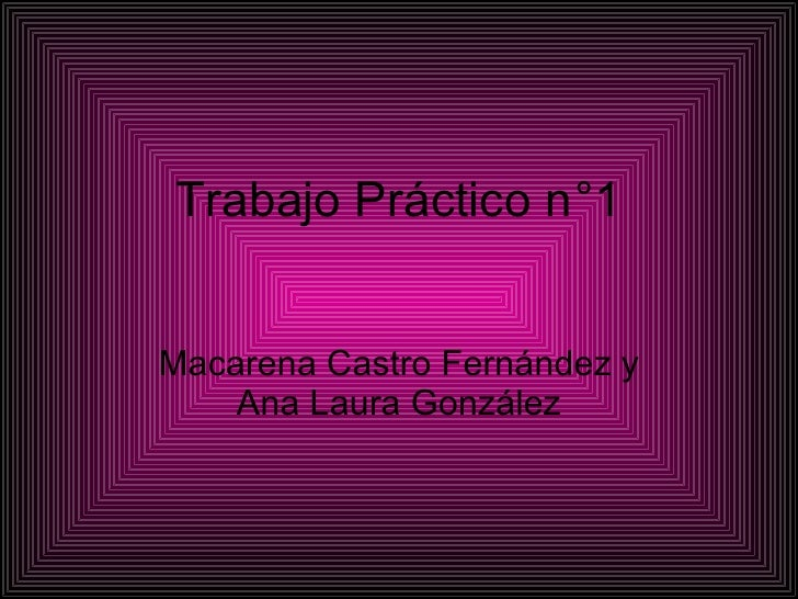 Trabajo Práctico n °1 Macarena Castro Fernández y Ana Laura González