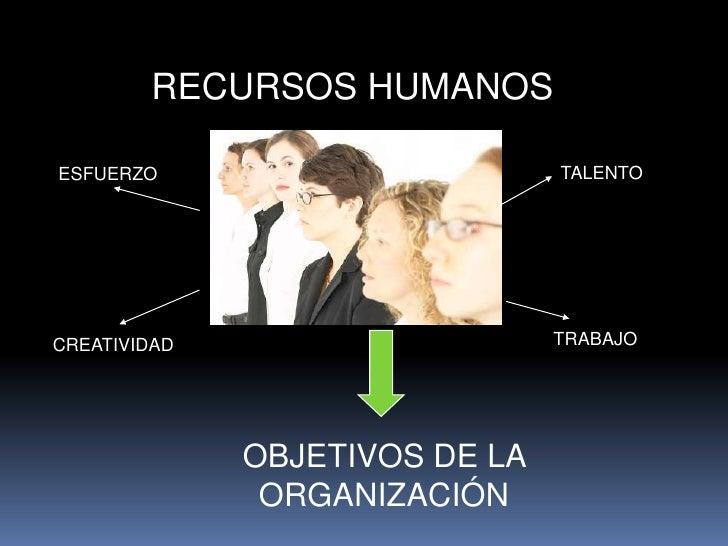RECURSOS HUMANOS <br />TALENTO <br />ESFUERZO<br />TRABAJO<br />CREATIVIDAD<br />OBJETIVOS DE LA   ORGANIZACIÓN<br />