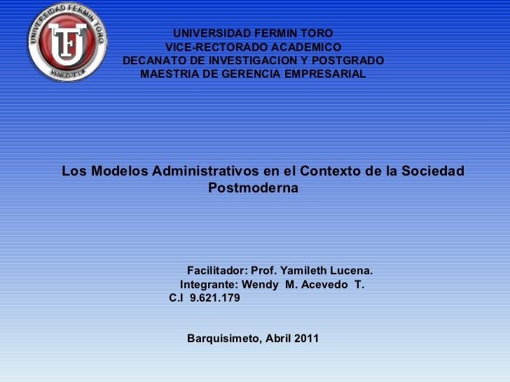 UNIVERSIDAD FERMIN TORO             VICE-RECTORADO ACADEMICO        DECANATO DE INVESTIGACION Y POSTGRADO          MAESTRI...