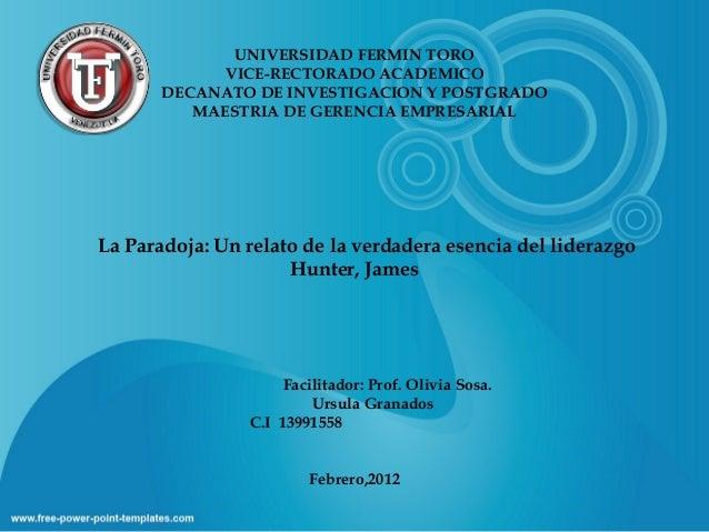 UNIVERSIDAD FERMIN TORO VICE-RECTORADO ACADEMICO DECANATO DE INVESTIGACION Y POSTGRADO MAESTRIA DE GERENCIA EMPRESARIAL La...