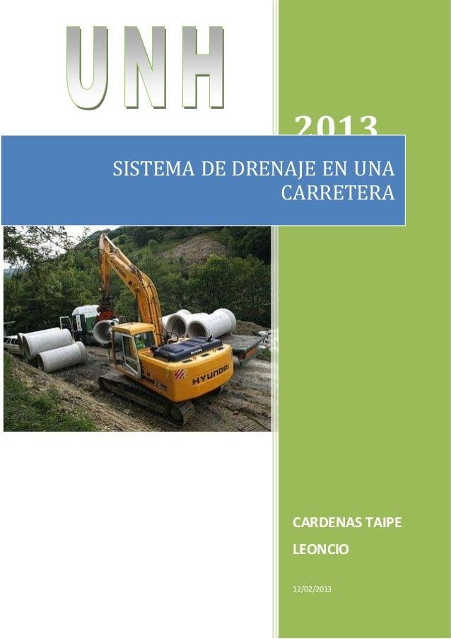2013 CARDENAS TAIPE LEONCIO 12/02/2013 SISTEMA DE DRENAJE EN UNA CARRETERA