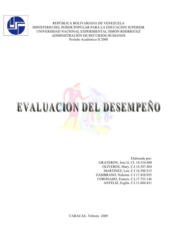 REPÚBLICA BOLIVARIANA DE VENEZUELA MINISTERIO DEL PODER POPULAR PARA LA EDUCACION SUPERIOR   UNIVERSIDAD NACIONAL EXPERIME...