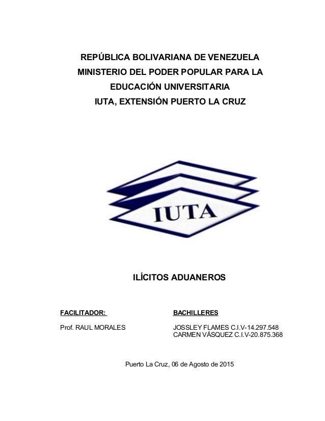 REPÚBLICA BOLIVARIANA DE VENEZUELA MINISTERIO DEL PODER POPULAR PARA LA EDUCACIÓN UNIVERSITARIA IUTA, EXTENSIÓN PUERTO LA ...