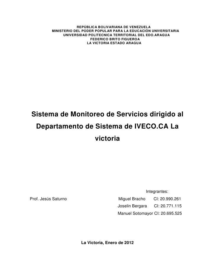 Sistema de Monitoreo de Servicios dirigido al Departamento de Sistema de IVECO