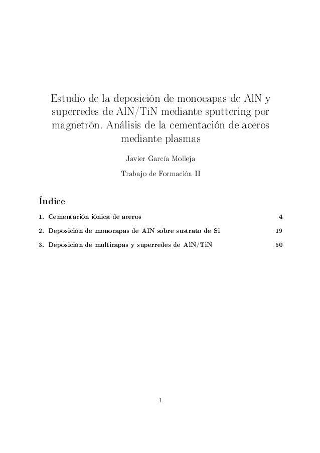 Estudio de la deposición de monocapas de AlN y   superredes de AlN/TiN mediante sputtering por   magnetrón. Análisis de la...
