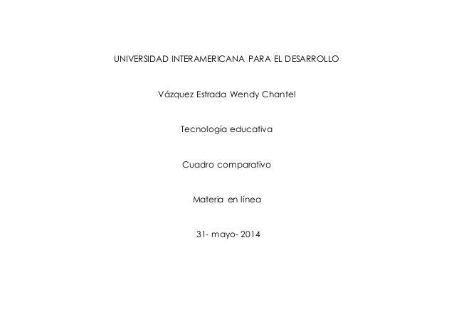 UNIVERSIDAD INTERAMERICANA PARA EL DESARROLLO Vázquez Estrada Wendy Chantel Tecnología educativa Cuadro comparativo Materi...