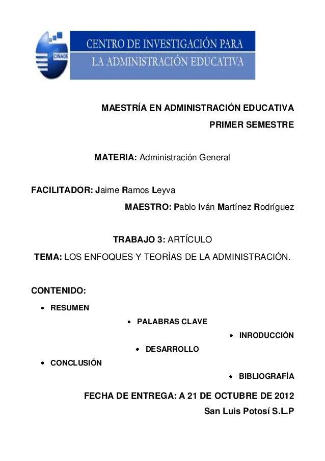 MAESTRÍA EN ADMINISTRACIÓN EDUCATIVA                                        PRIMER SEMESTRE              MATERIA: Administ...