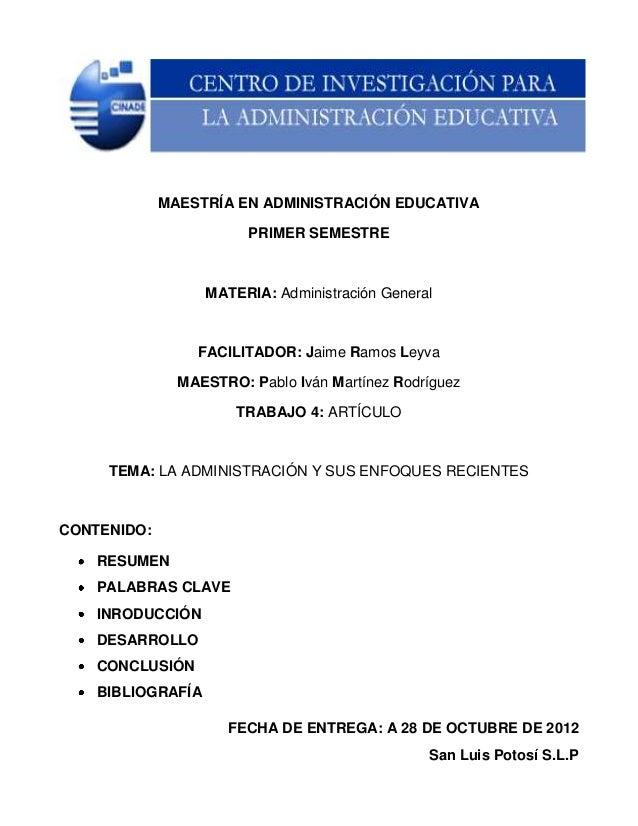 MAESTRÍA EN ADMINISTRACIÓN EDUCATIVA                        PRIMER SEMESTRE                   MATERIA: Administración Gene...