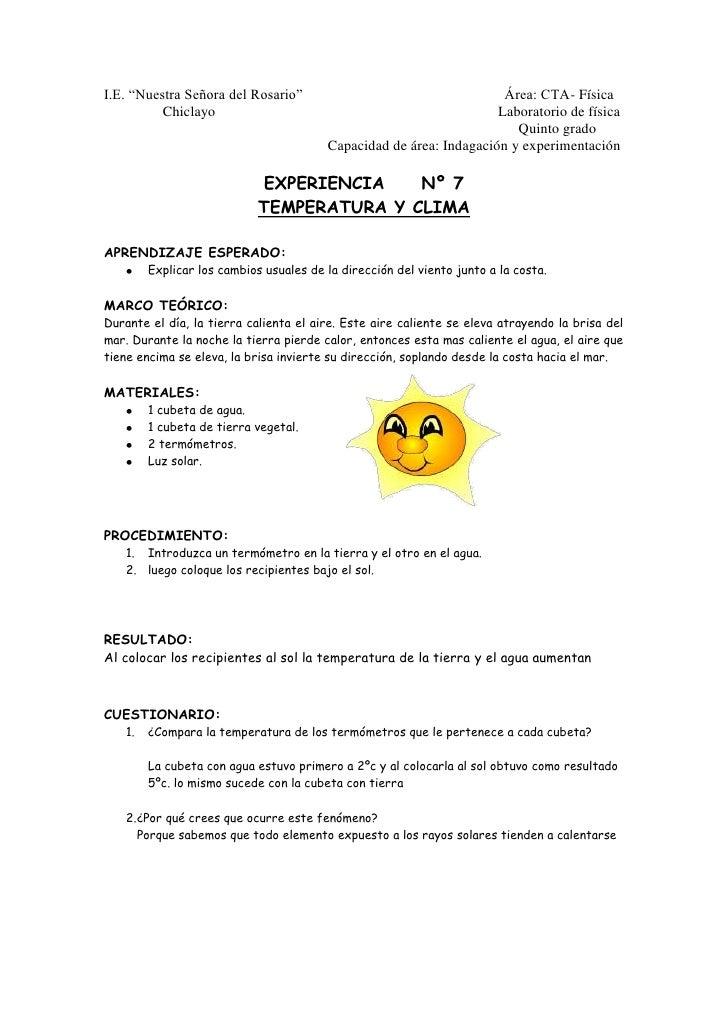 """I.E. """"Nuestra Señora del Rosario""""                                                       Área: CTA- Física<br />           ..."""