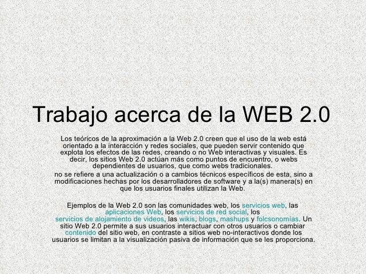 Trabajo acerca de la web 2.0