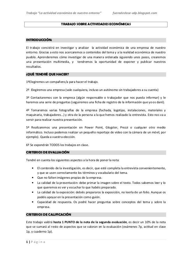"""Trabajo """"La actividad económica de nuestro entorno""""            fueradeclase-vdp.blogspot.com                         TRABA..."""