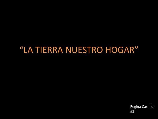 """""""LA TIERRA NUESTRO HOGAR""""                       Regina Carrillo                       #2"""
