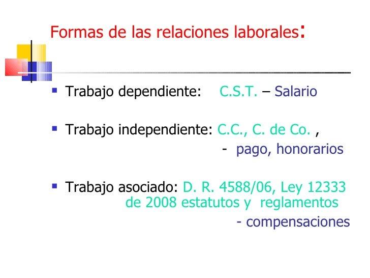 Formas de las relaciones laborales : <ul><li>Trabajo dependiente:  C.S.T.  –  Salario </li></ul><ul><li>Trabajo independie...