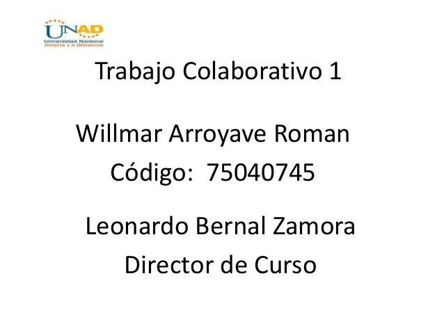 Trabajo Colaborativo 1 Willmar Arroyave Roman Código: 75040745 Leonardo Bernal Zamora Director de Curso