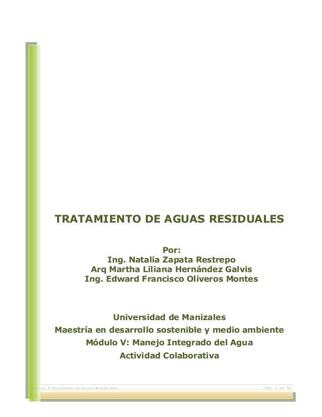 Ensayo Tratamiento de Aguas Residuales Pág. 1 de 30 TRATAMIENTO DE AGUAS RESIDUALES Por: Ing. Natalia Zapata Restrepo Arq ...