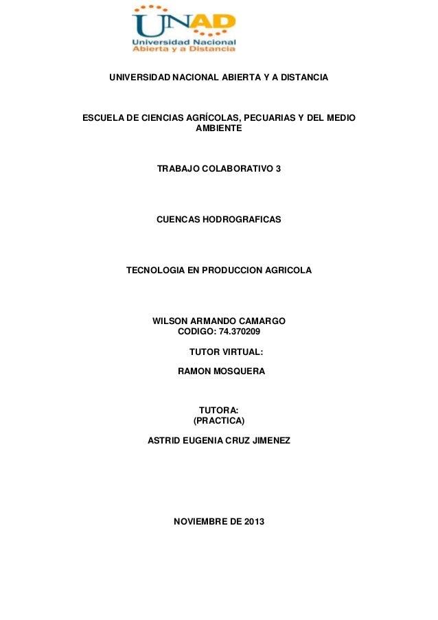 UNIVERSIDAD NACIONAL ABIERTA Y A DISTANCIA  ESCUELA DE CIENCIAS AGRÍCOLAS, PECUARIAS Y DEL MEDIO AMBIENTE  TRABAJO COLABOR...