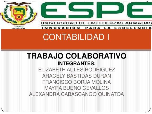 CONTABILIDAD I TRABAJO COLABORATIVO INTEGRANTES: ELIZABETH AULES RODRÍGUEZ ARACELY BASTIDAS DURAN FRANCISCO BORJA MOLINA M...