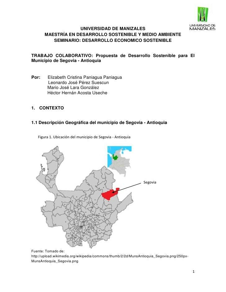 UNIVERSIDAD DE MANIZALES       MAESTRÍA EN DESARROLLO SOSTENIBLE Y MEDIO AMBIENTE          SEMINARIO: DESARROLLO ECONOMICO...
