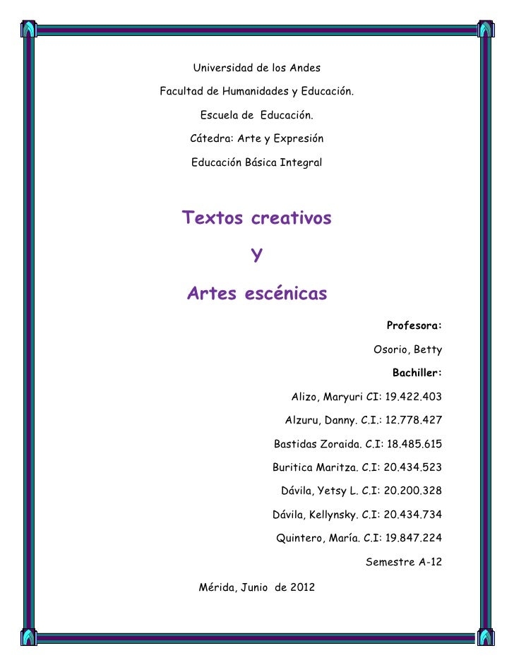 Universidad de los AndesFacultad de Humanidades y Educación.       Escuela de Educación.     Cátedra: Arte y Expresión    ...