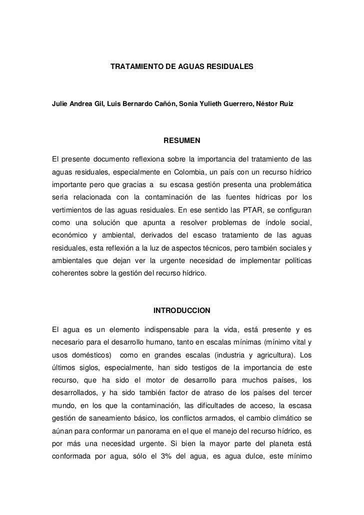 TRATAMIENTO DE AGUAS RESIDUALESJulie Andrea Gil, Luis Bernardo Cañón, Sonia Yulieth Guerrero, Néstor Ruiz                 ...