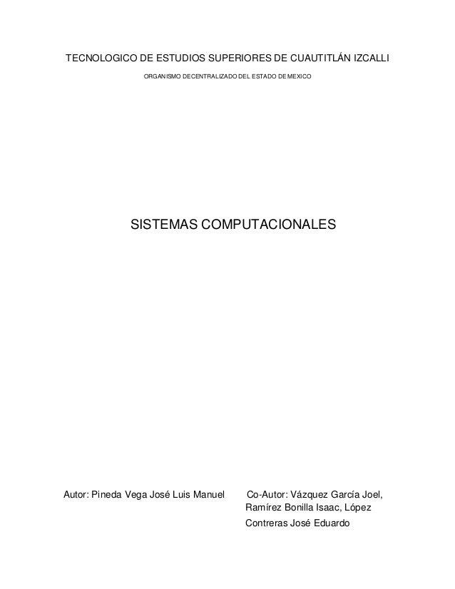 TECNOLOGICO DE ESTUDIOS SUPERIORES DE CUAUTITLÁN IZCALLI                 ORGANISMO DECENTRALIZADO DEL ESTADO DE MEXICO    ...