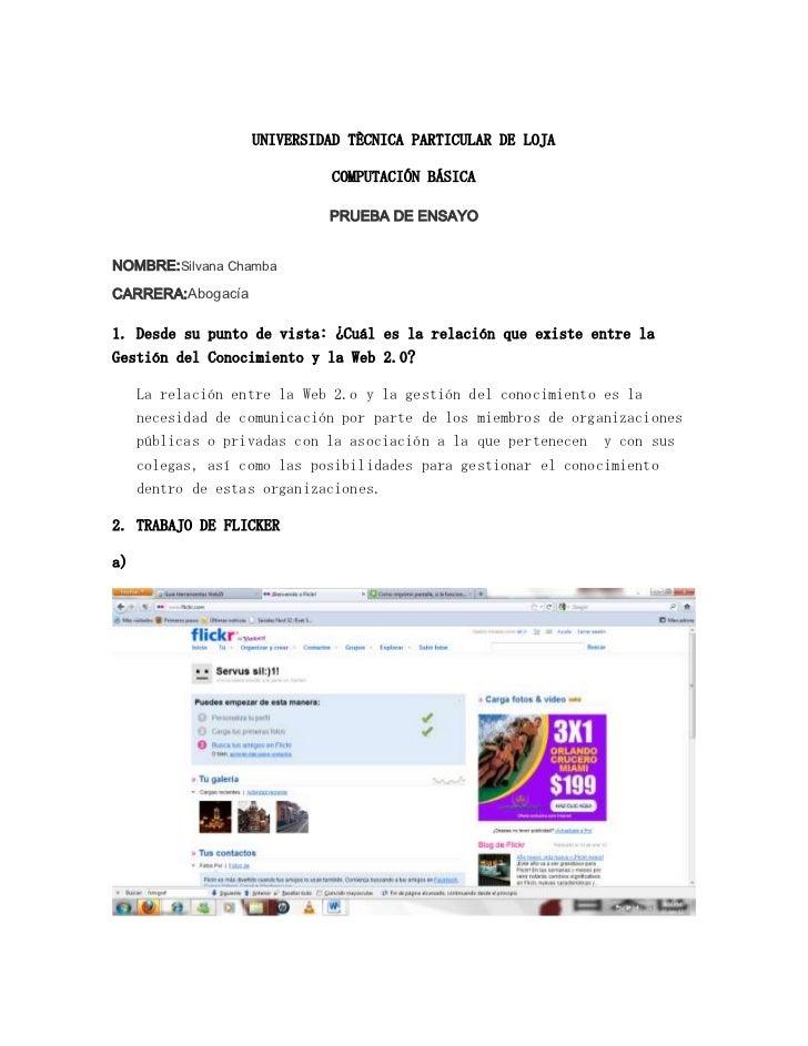 UNIVERSIDAD TÈCNICA PARTICULAR DE LOJA                             COMPUTACIÓN BÁSICA                             PRUEBA D...