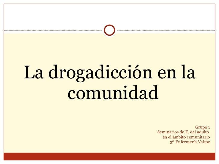 Grupo 1 Seminarios de E. del adulto  en el ámbito comunitario 3º Enfermería Valme <ul><li>La drogadicción en la comunidad ...