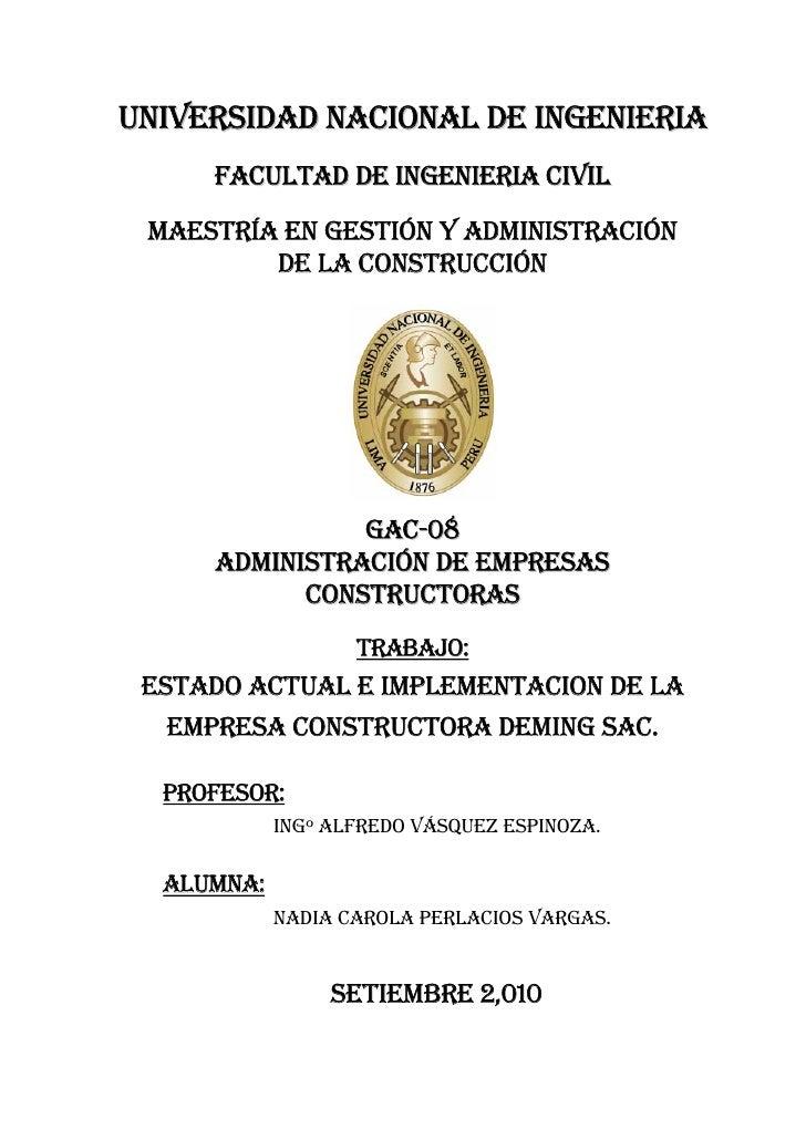 UNIVERSIDAD NACIONAL DE INGENIERIA      FACULTAD DE INGENIERIA CIVIL   MAESTRÍA EN GESTIÓN Y ADMINISTRACIÓN          DE LA...