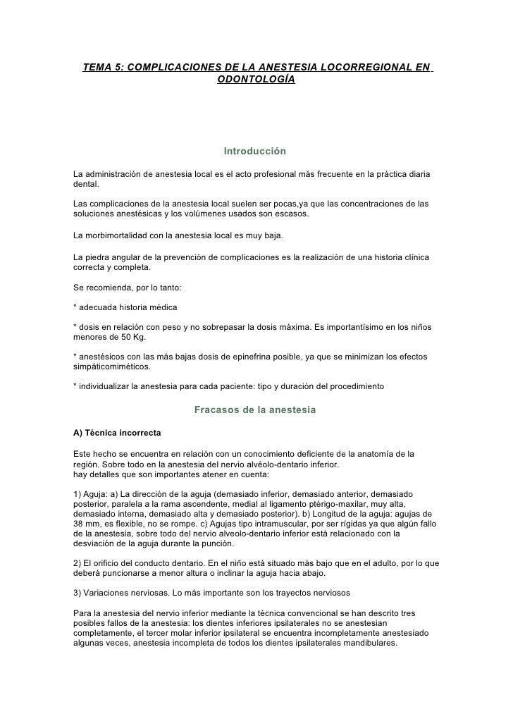 TEMA 5: COMPLICACIONES DE LA ANESTESIA LOCORREGIONAL EN                       ODONTOLOGÍA                                 ...