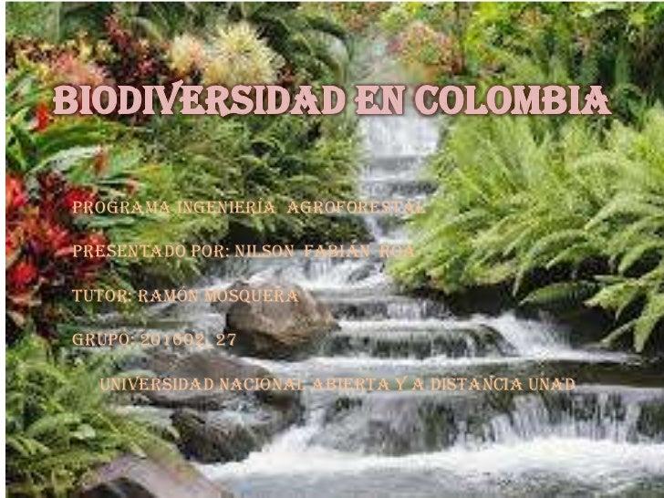 Programa ingeniería agroforestalPresentado por: Nilson Fabián roaTUTOR: ramón MosqueraGrupo: 201602_27  Universidad nacion...