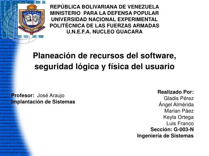 REPÚBLICA BOLIVARIANA DE VENEZUELAMINISTERIO  PARA LA DEFENSA POPULARUNIVERSIDAD NACIONAL EXPERIMENTAL POLITÉCNICA DE LAS ...