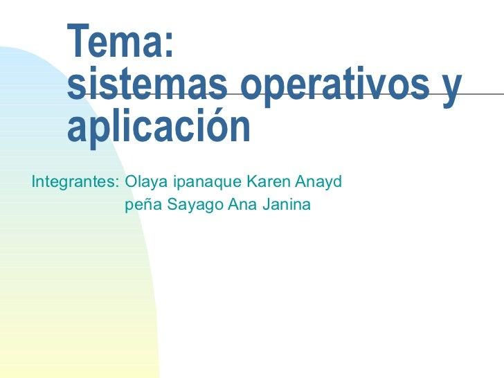 Tema:  sistemas operativos y aplicación Integrantes: Olaya ipanaque Karen Anayd  peña Sayago Ana Janina