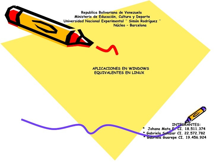 Republica Bolivariana de Venezuela  Ministerio de Educación, Cultura y Deporte Universidad Nacional Experimental ¨ Simón R...