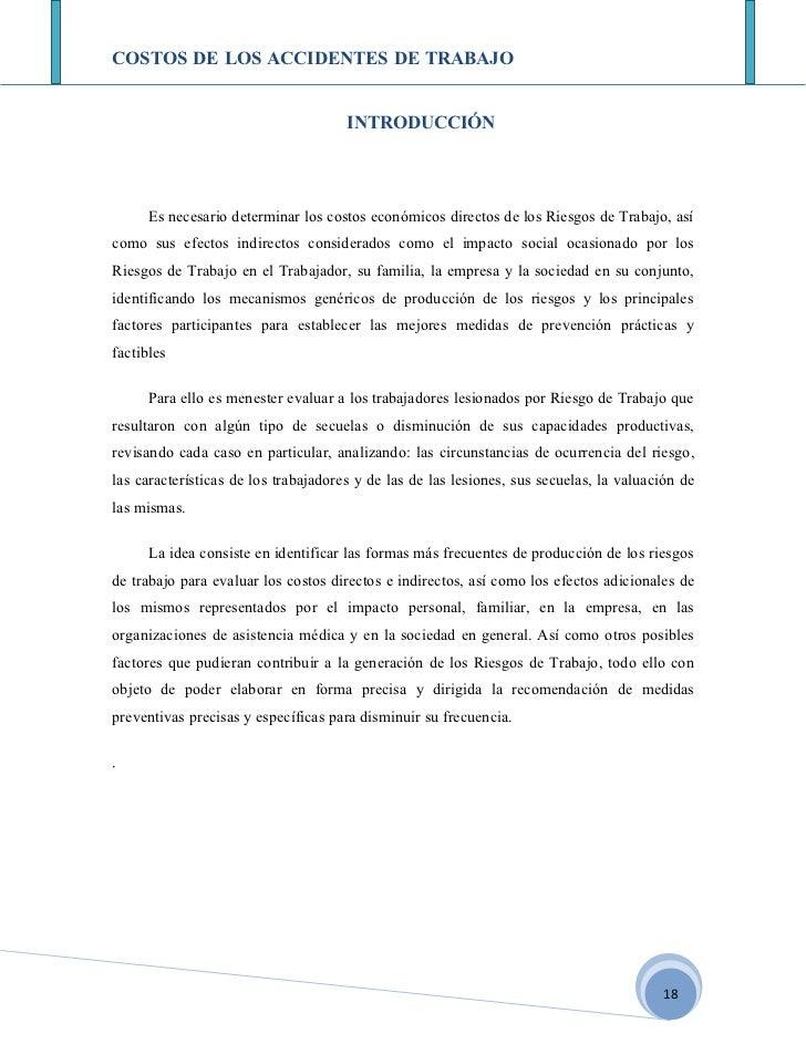 COSTOS DE LOS ACCIDENTES DE TRABAJO                                        INTRODUCCIÓN           Es necesario determinar ...